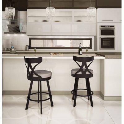 Engel 30 Swivel Bar Stool Finish: Textured Dark Brown/Warm Grey