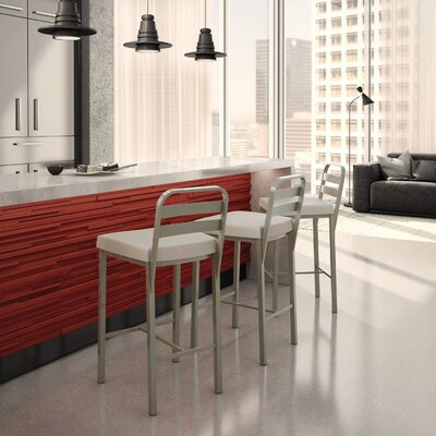 Prescott 26.13 Bar Stool Upholstery: Matte Light Grey/Beige