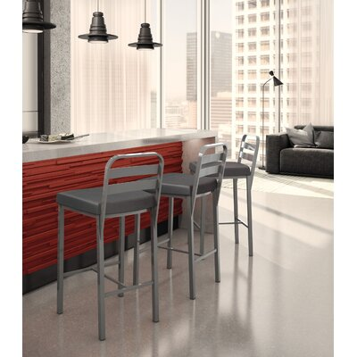 Prescott 26.13 Bar Stool Upholstery: Glossy Grey/Matte Charcoal Black