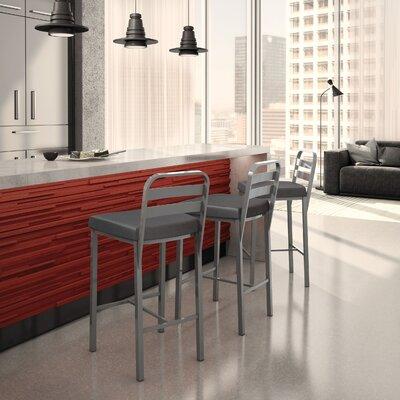 Prescott 30.13 Bar Stool Upholstery: Glossy Grey/Matte Charcoal Black