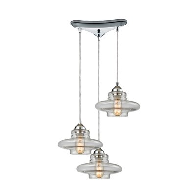 Toothman 3-Light Cascade Pendant Finish: Polished Chrome