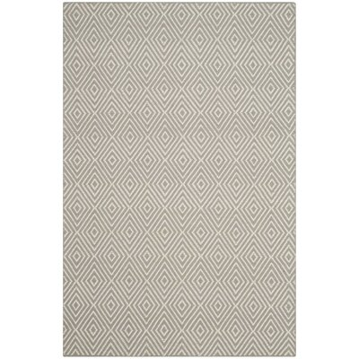 Shaler Hand-Hooked Silver/Ivory Area Rug Rug Size: 4 x 6