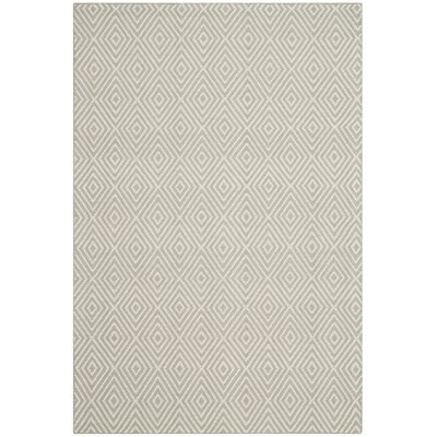 Shaler Hand-Hooked Light Gray/Ivory Area Rug Rug Size: 5 x 8