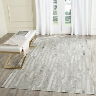 Sevastopol Hand-Woven Ivory/Gray Area Rug Rug Size: Rectangle 4 x 6