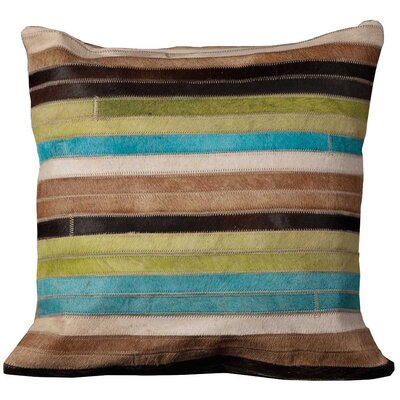 Secaucus Leather Throw Pillow Size: 18 H x 18 W, Color: Blue/Green