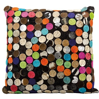 Aphra Leather Throw Pillow Color: Blue/Orange