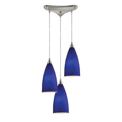 Block 3-Light Pendant Finish: Satin Nickel and Royal Blue Glass