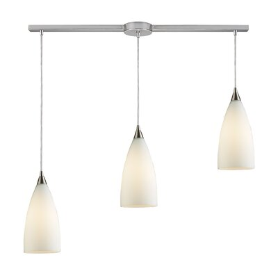Block 3-Light Linear Pendant Finish: Satin Nickel and Royal Blue Glass