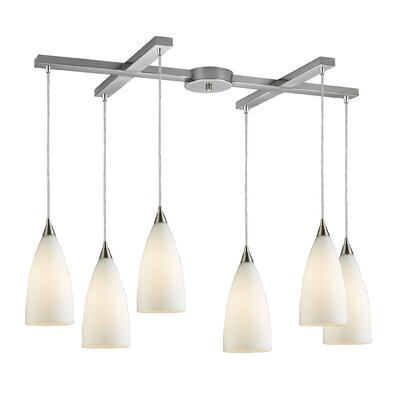 Block 6-Light Kitchen Pendant Finish: Satin Nickel and White Glass