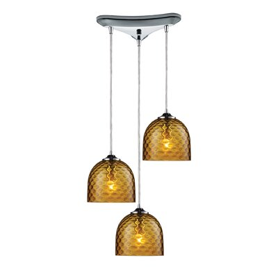 Everson 3-Light Pendant Glass Finish: Green in Polished Chrome