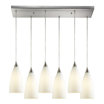Block 6-Light Kitchen Island Pendant Shade Color: White