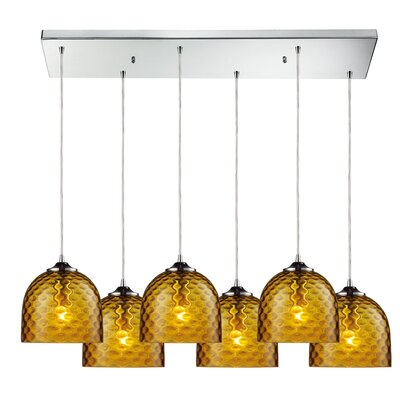 Everson 6-Light Kitchen Island Pendant Shade Color: Green
