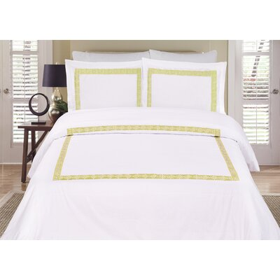 Mayne 3 Piece Reversible Duvet Cover Set Color: White / Gold, Size: Queen
