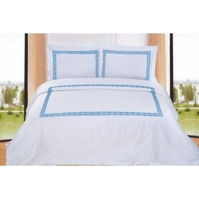 Mayne 3 Piece Reversible Duvet Cover Set Color: White / Blue, Size: Queen