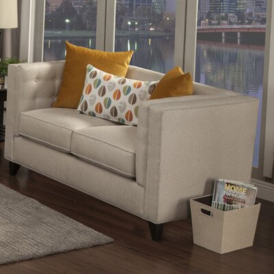 Pesce Contemporary Flared Arm Loveseat Upholstery: Beige
