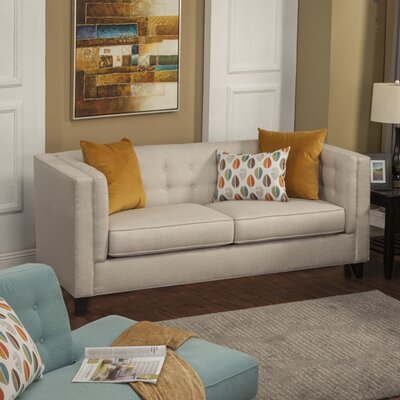 Pesce Contemporary Flared Arm Sofa Upholstery: Teal Blue
