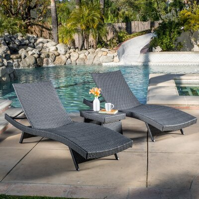 Stowell 3 Piece Chaise Lounge Set Finish: Gray