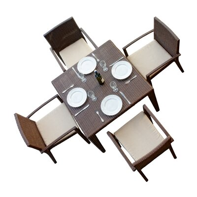 Hicklin 5 Piece Dining Set with Cushions
