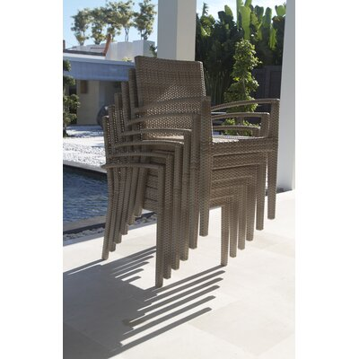 Hicklin Stacking Dining Arm Chair with Cushion