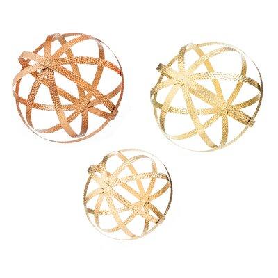 3 Piece Collapsible Metallic Garden Sphere Armillaries Set