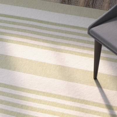 Eres Beige/Sweet Pea Striped Contemporary Indoor/Outdoor Area Rug Rug Size: Runner 27 x 5