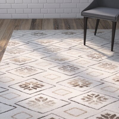 Eldert Hand-Knotted Ivory Area Rug Rug Size: Rectangle 6 x 9