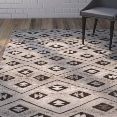 Eldert Hand-Knotted Gray Area Rug Rug Size: Rectangle 5 x 8