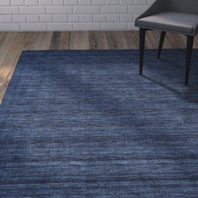 Larissa Hand-Woven Dark Blue Area Rug Rug Size: 36 x 56