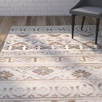 Eldert Hand-Knotted Beige Area Rug Rug Size: Rectangle 6 x 9