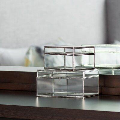 2 Piece Decorative Glass Boxes Set