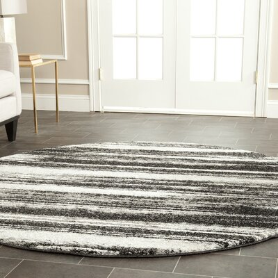 Tesch Dark Grey & Light Grey Area Rug Rug Size: Round 6