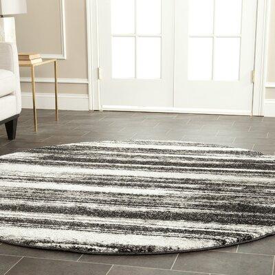 Tesch Dark Grey & Light Grey Area Rug Rug Size: Round 6