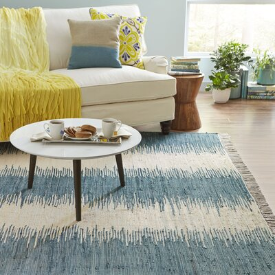 Portsmouth Hand Woven Cotton Blue/Ivory Area Rug Rug Size: Square 6