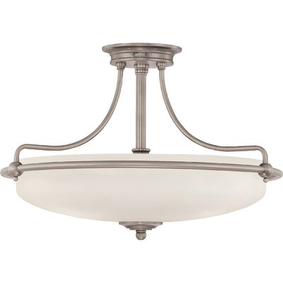 Helsley 3-Light Semi Flush Mount Size: 14 H x 21 W x 21 D, Finish: Antique Nickel