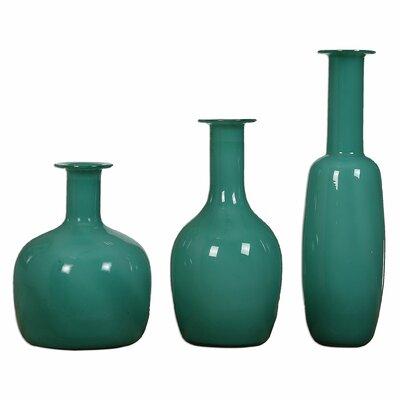 3 Piece Turquoise Vase Set