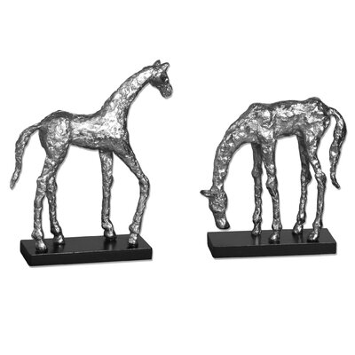 2 Piece Horse Statue Set