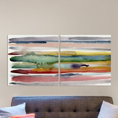 Autumn Time Diptych 2 Piece Painting Print on Wrapped Canvas Set