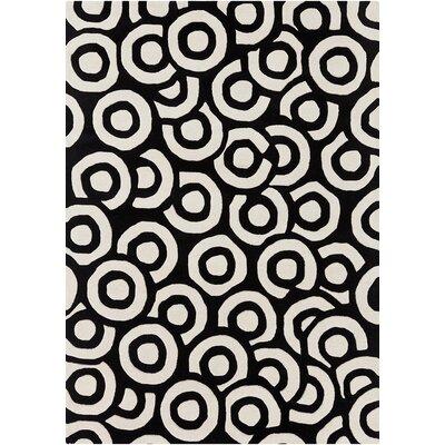 Perna Black & White Geometric Area Rug Rug Size: 5 x 7