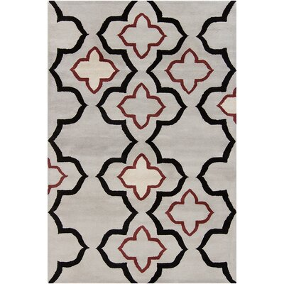 Oritz Hand Tufted Wool Gray/Black Area Rug