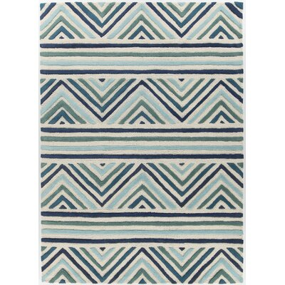 Oritz Hand Tufted Wool Blue/White Area Rug