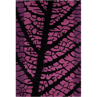 Oritz Hand Tufted Wool Black/Pink Area Rug