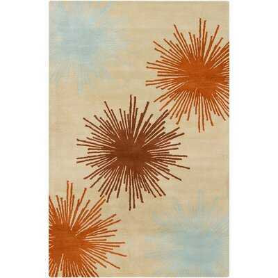 Oritz Hand Tufted Wool Beige/Brown Area Rug Rug Size: 5 x 76