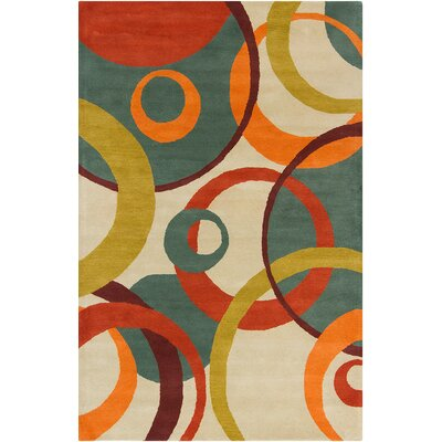 Oritz Hand Tufted Wool Cream/Teal Green Area Rug Rug Size: 5 x 76