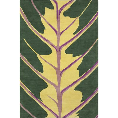 Oritz Hand Tufted Wool Green/Yellow Area Rug Rug Size: 8 x 10