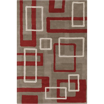 Oritz Hand Tufted Wool Light Taupe/Rusty Red Area Rug Rug Size: 8 x 10