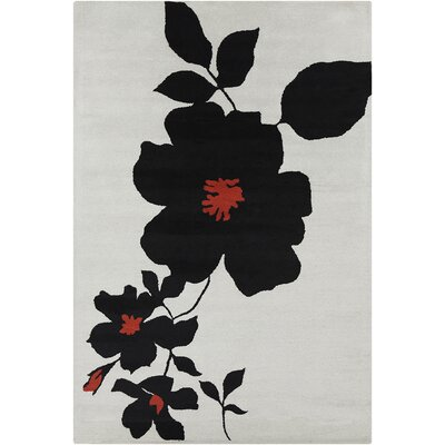 Oritz Hand Tufted Wool White/Black Area Rug Rug Size: 5 x 76