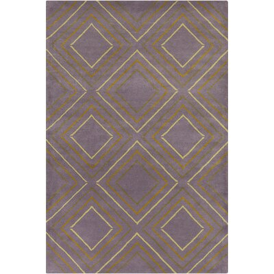 Oritz Hand Tufted Wool Purple/Yellow Area Rug Rug Size: 5 x 76
