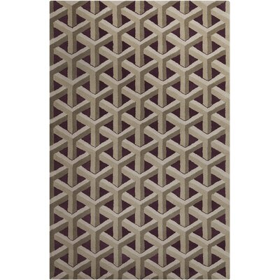 Oritz Hand Tufted Wool Black/Tan Area Rug Rug Size: 5 x 76