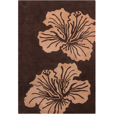 Oritz Hand Tufted Wool Light Brown/Dark Brown Area Rug Rug Size: 5 x 76