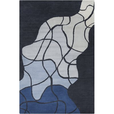 Oritz Hand Tufted Wool Gray/Blue Area Rug Rug Size: 5 x 76